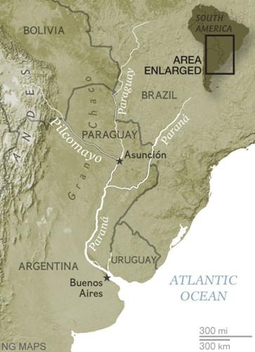 Đoạn sông Pilcomayo dài 1100kmlà nguồn cung cấp nước uống cho hàng nghìn loài vật đặc trưng cho khu vực Nam Mỹ.