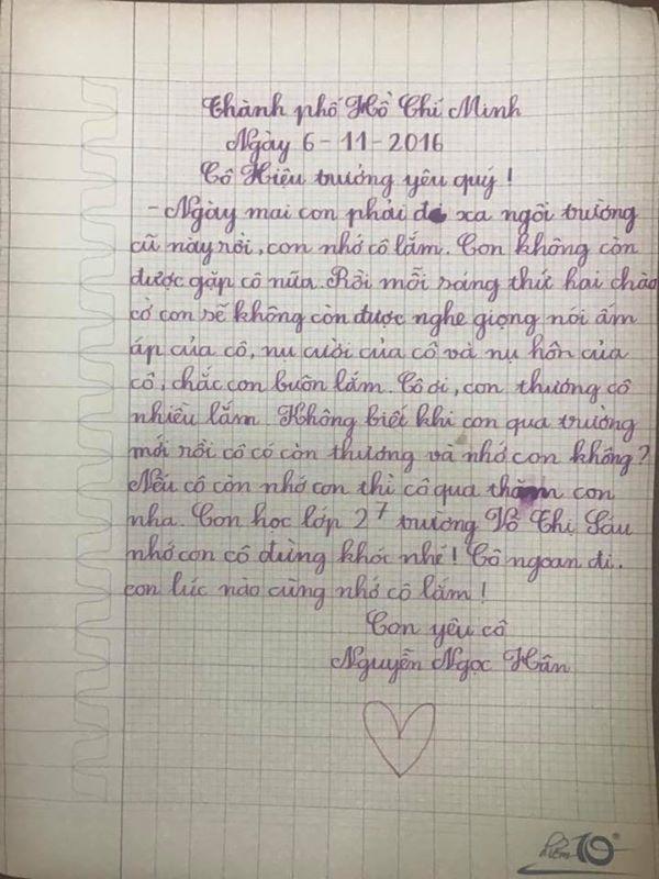 Bức thư đáng yêu của cô học trò nhỏ gửi đến cô hiệu trưởng.