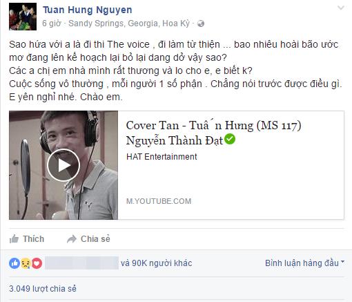 Nam ca sĩTuấn Hưngđau xót trước sự ra đi đột ngột củaThành Đạt.(Ảnh: Chụp màn hình)