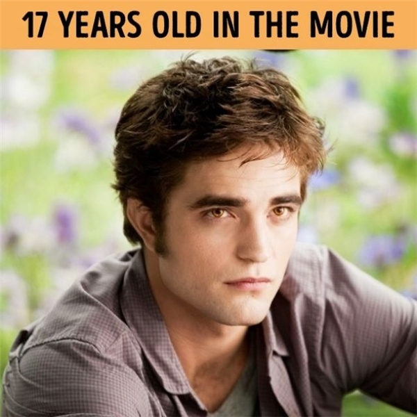 Robert Pattinson mới 22 tuổi khi vào vai chàng ma cà rồng núp bóng nam sinh trung học.