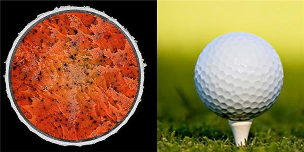 """""""Nội thất"""" bên trong của quả bóng golf giống như một tô kem mùa hè mát lạnh."""