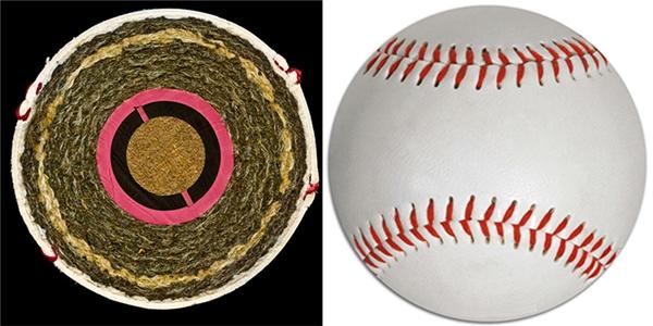 Ruột của bóng chày được làm từ bần, sau đó quấn chặt bằng len và phủ ngoài cùng là một lớp da.