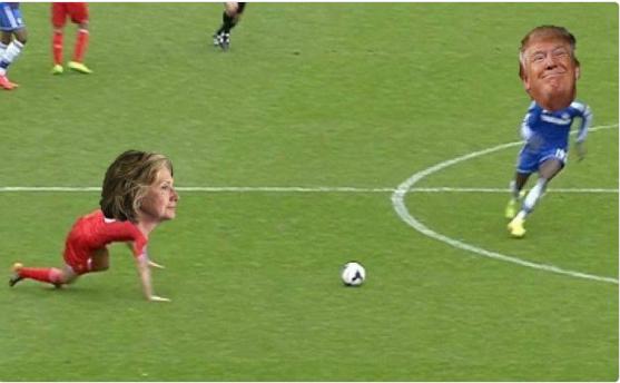 Loạt ảnh chế Donald Trump đánh bại Clinton phiên bản bóng đá