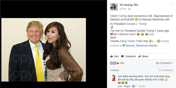 Ngoài ra, Hoa hậu Diễm Hương cũng cho biết, cô đã có dịp gặp, bắt tay và chụp ảnh cùng Donald Trump nhưng tạm thời chưa nhớ phải tìm ở đâu.