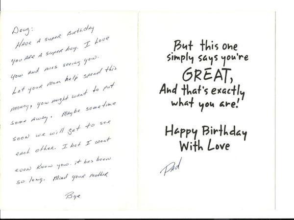 Tấm thiệp chúc mừng sinh nhật củaDouglas gửi đến 2 con.