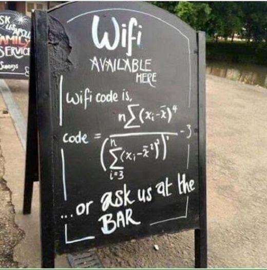 Mật khẩu Wifi là đáp án của nhữngphương trình toán học phức tạp.