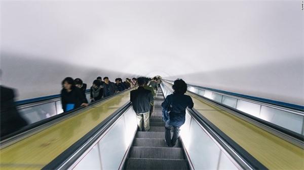Hệ thống thang cuốn trong nhà ga.