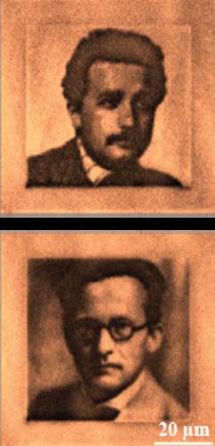 Albert Einstein và Erwin Schrödinger, nhà nghiên cứu mã hóa hình ảnh rên kim cương bằng cách thêm và bớt electron với laser xanh và đỏ. (Ảnh: internet)
