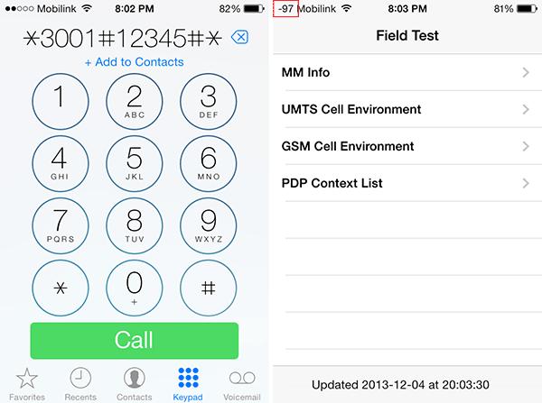 Chức năng Field Test kiểm tra chất lượng mạng. (Ảnh: internet)
