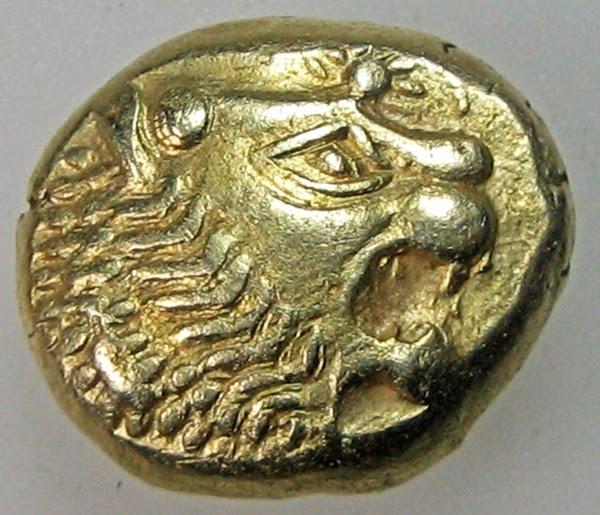 Hình ảnh đồng xu cổ nhất được thấy tại thành phố Efes của người Hy Lạp xưa, nay thuộc địa phận Thổ Nhĩ Kỳ. Nó được làm từ hỗn hợp vàng, bạc với một mặt hình đầu sư tử.