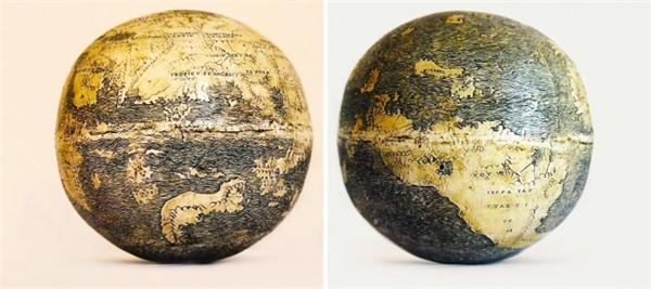 Mô hình trái đất này được chế tạo từ 2 quả trứng chim đà điểu với bản đồ Thế giới Cũ và Mới được đặt tại mỗi bán cầu.Các chuyên gia tin rằng chúng được làm ra tại Florence (Ý) bởi chính người thợ thủ công đại tài Leonardo da Vinci.
