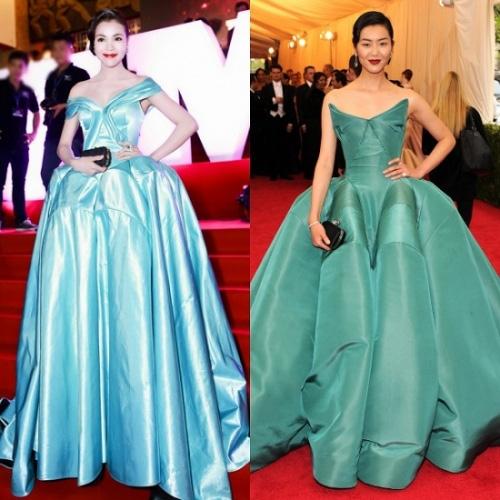 Sự chênh lệch một trời một vực giữa bộ váy của Trà Ngọc Hằng và thiết kế hàng hiệu mà siêu mẫu hàng đầu châu Á Liu Wen diện trên thảm đỏ.
