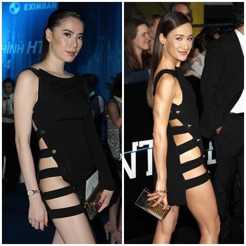 Thân hình đầy dặn của Chung Thục Quyên khiến cô trông kém hấp dẫn so với ngôi sao quốc tế với bộ váy được đặt may lại.