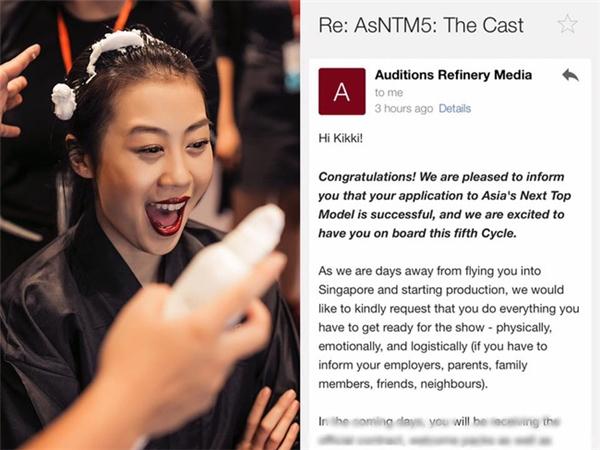 Thư xác nhận tư cách thí sinh của Kikki Lê tại Asia's Next Top Model 2017.