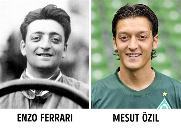 Enzo Ferrari - nhà sáng lập tập đoàn Ferrari, từ trần vào năm 1988. Khoảng một tháng sau đó, cầu thủ bóng đá Mesut Ozil ra đời. Nhìn ảnh chân dung của họ, khó có thể tin được trên đời lại có hai gương mặt giống nhau như đúc thế này.