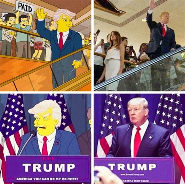 Tác giả bộ phim hoạt hình The Simpsons đình đám đã tạo ra một cảnh hài hước trong một tập phim phát sóng năm 2000, khi Donald Trump trở thành tổng thống Hoa Kỳ. Hẳn là, chính các nhà làm phim cũng không thể ngờ điều đó lại trở thành sự thật trong mười sáu năm sau! Đây quả là lời tiên đoán xác thực nhất cho sự kiện gây chấn động thế giới này. Không chỉ đúng về nhân vật, cảnh phim cũng được tái hiện y hệt ngoài đời thực khi Trump nhậm chức.