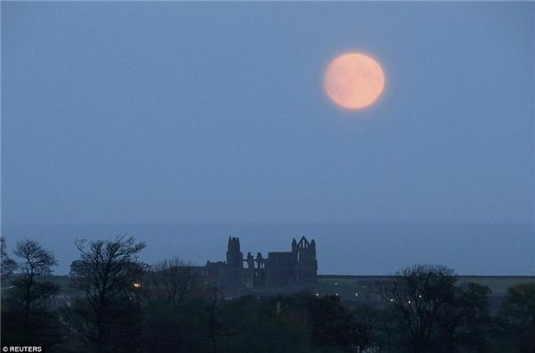 Mặt trăng mọc ở nước Anh ngày 13/11. Đây chưa phải thời điểm trăng tròn nhất. (Ảnh: Reuters)