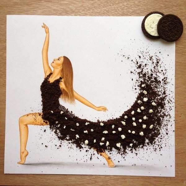 Vũ điệu mềm mại của kem bơ trắng cùng bánh quy sô-cô-la bóp vụn.