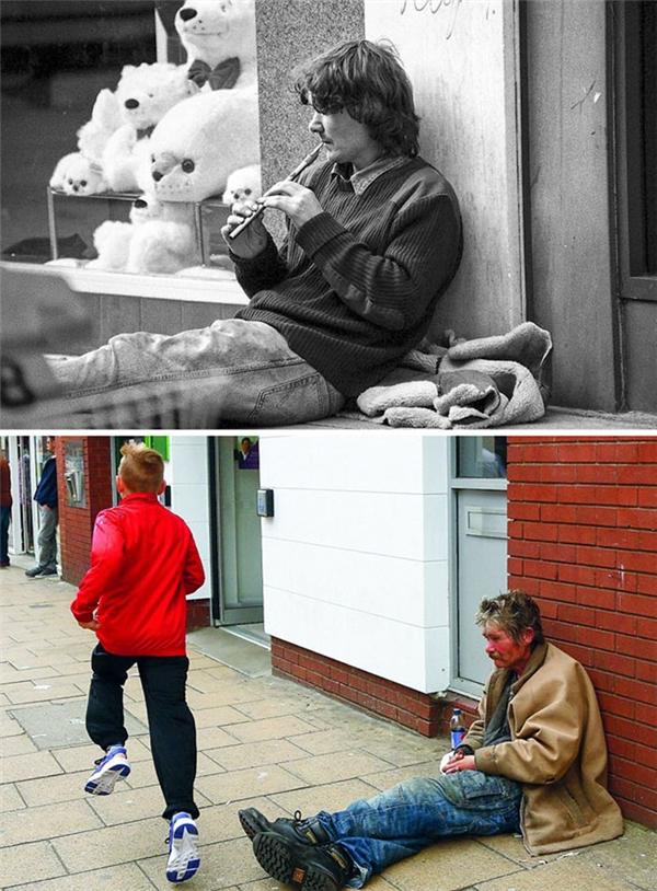 Không ít người đã phải thổn thức khi nhìn thấy hai tấm ảnh này, người đàn ông vô gia cư ấy vẫn miệt mài ngồi nơi con phố ấy, chỉ khác là cây sáo phát ra những điệu nhạc du dương đã không còn trên tay ông nữa mà thôi.
