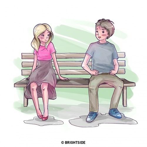 Khi một chàng trai ngồi chân để mở và đặt hai tay ở gần hông hay cho vào túi quần chính là lúc anh chàng đang muốn lấy thêm sự tự tin cũng như phong độ trước mặt bạn đấy.