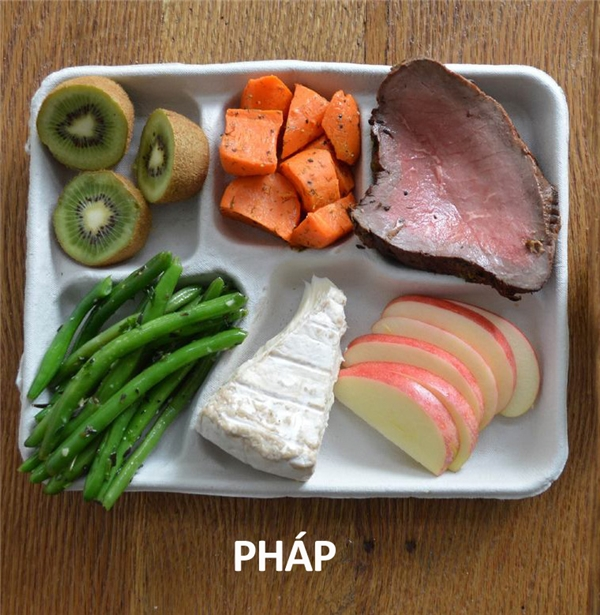 Bò bít tết, cà rốt, đậu que, phô mai, và trái cây