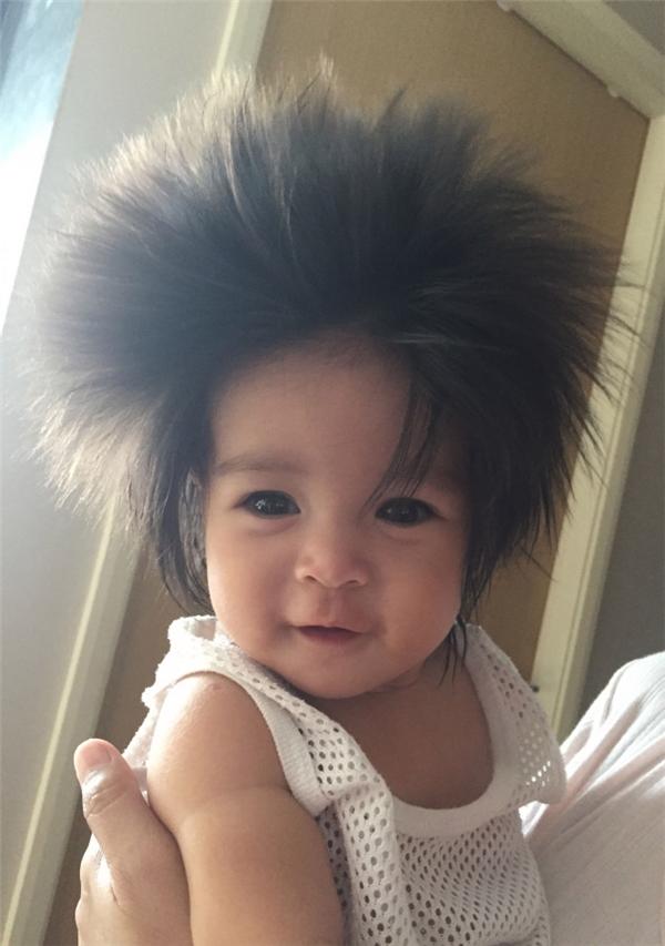 Bé gái 21 tháng tuổi người Singapore có mái tóc dày xù và dựng đứng lên trông rất ngộ nghĩnh.