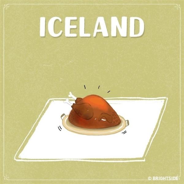"""Nhưng dẫu sao đi nữa, Iceland vẫn là quốc gia có vẻ """"đắt đỏ"""" nhất. Đến đây thì bạn chỉ còn đủ khả năng chi trả cho duy nhất một con gà trên bàn ăn!"""