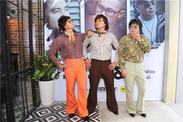 Tạo hình ấn tượng của 3 thành viênMTV Band trong buổi họp báo chiều qua. - Tin sao Viet - Tin tuc sao Viet - Scandal sao Viet - Tin tuc cua Sao - Tin cua Sao