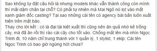 Những dòng trạng thái chỉ trích Cao Thiên Trang từ trang cá nhân của fashionista Thythu.