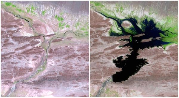 Sông Dasht, Pakistan (08/1999 - 06/2011). Con đậpMirani được xây nên để cung cấp nước uống,điện, và hỗ trợ nông nghiệp cho người dân sinh sống trongkhu vực này.