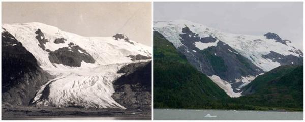 Sông băng Toboggan, Alaska (06/1909 - 09/2000)