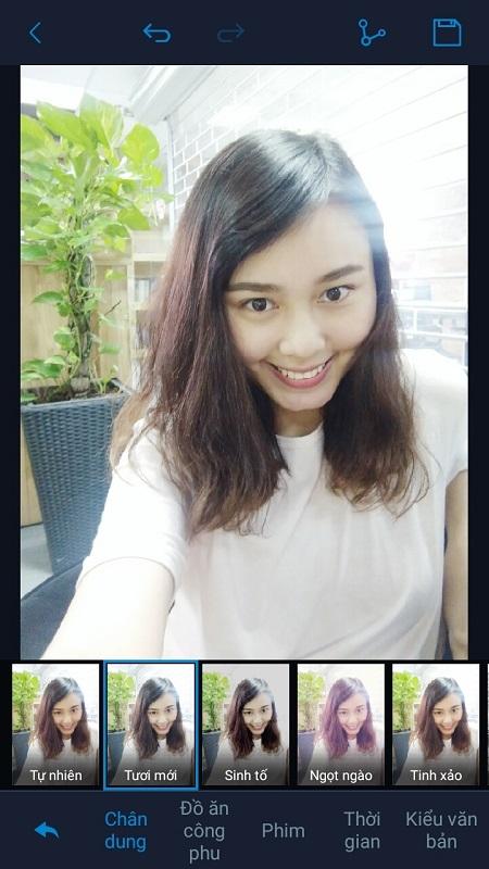 Hàng trăm hiệu ứng được tích hợp sẵn trong điện thoại Vivo Y55 giúp bức hình selfie trở nên thật chất.