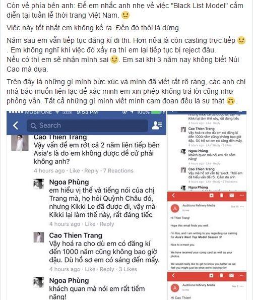 Cao Thiên Trang bức xúc trên trang cá nhân dẫn đến những tranh cãi với thành viên thuộc ekip Vietnam's Next Top Model.