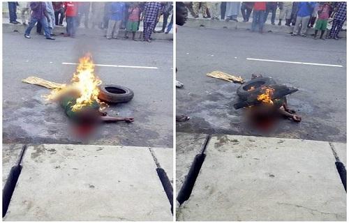 Cậu bé bị tẩm xăng và đốt trước sự chứng kiến của nhiều người.