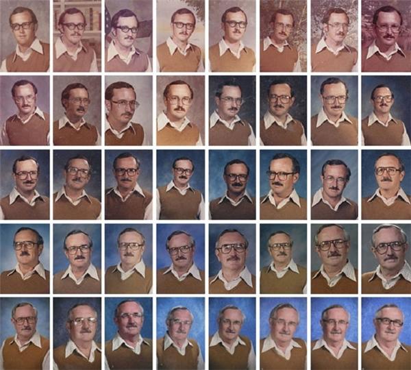 Trong khi nhiều người cố gắng gây sự chú ý, một thầy giáo lại...mặc đúng một trang phục để chụp ảnh cho vào hồ sơ của trường trong suốt 40 năm.