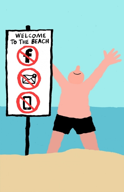 Trông thấy biển báo cấm sử dụng email, mạng xã hội, điện thoại trên bãi biển, cá là người ta thà ở nhà lướt web còn hơn!