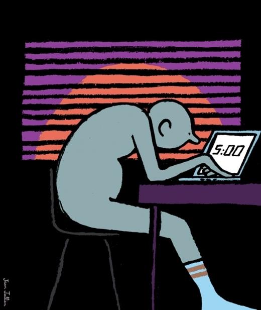 Đôi khi người ta chọn cách trải qua đêm dài với chiếc máy tính, và ngắm mắt trời mọc bằng chiếc đồng hồ hiển thị trên màn hình.