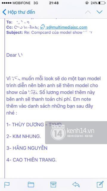 """Nóng: Xuất hiện email cấm diễn làm tuyên bố của BeU Models """"mất giá"""""""