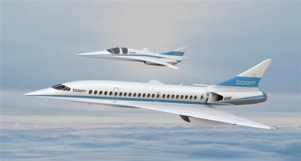 Mẫu máy bay Baby Boom(trên) và mẫu máy bay chở khách Boom Passenger Airliner lớn hơn.(Ảnh: internet)