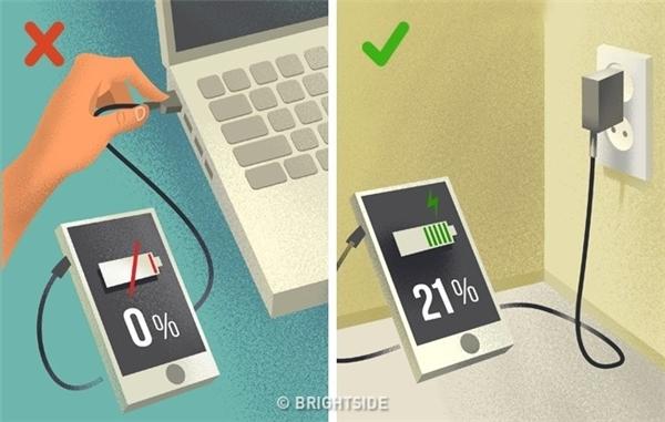 Bạn không nên để điện thoại cạn nguồn rồi mới sạc mà hãy tiếp năng lượng lúc pin chỉ còn 10-20%.