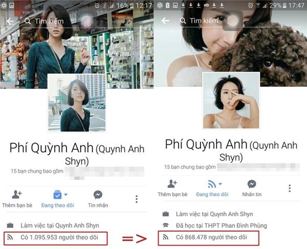 Quỳnh Anh Shyncũng bị tụt follower khá nhiều.