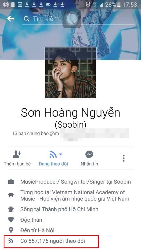 Trước đây,Soobin Hoàng Sơntừng có hơn 861.000 người theo dõi, giờ con số ấy chỉ còn hơn 557.000 người.