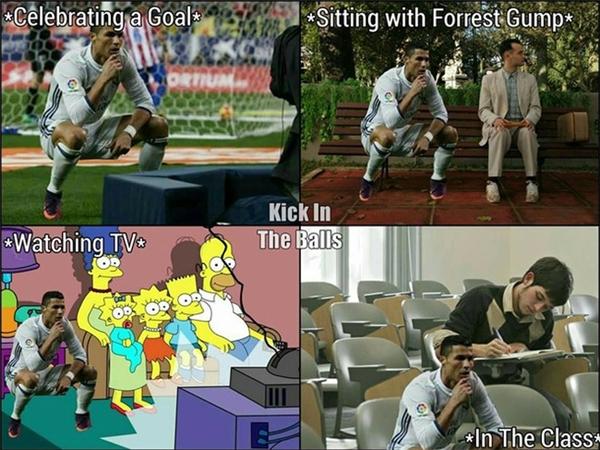 """Ronaldo """"ngồi xổm"""" đi muôn nơi. (Ảnh: internet)"""