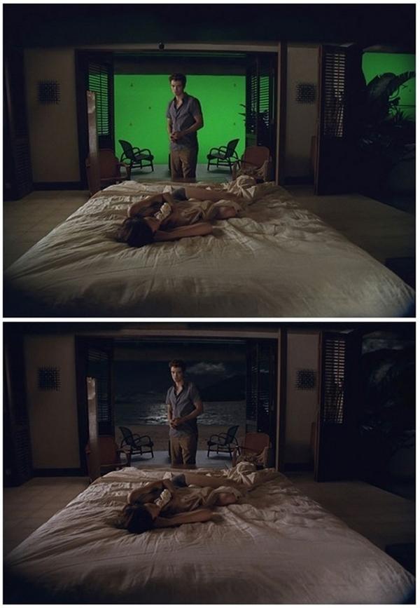 Khung cảnh lãng mạn ngoàiphòng ngủ của 2 nhân vật chính trong The Twilight Saga: Breaking Dawn thực chấtchỉ là một phông nền xanh cỡ lớn.