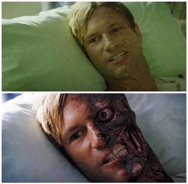 Kĩ xảo đã khiếngương mặt của nam diễn viên trong phim Dark Knight trở nên đáng sợ.