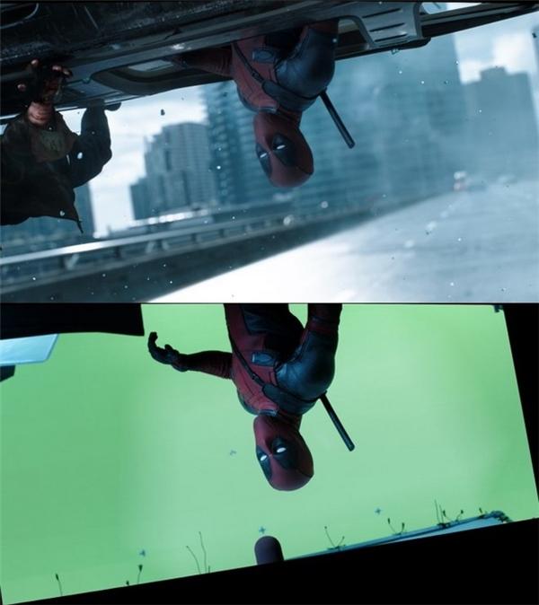 Các cảnh mạo hiểm trên đường phố trong đoạn mở đầu phim Deadpool đều được thực hiện trên phông xanh.