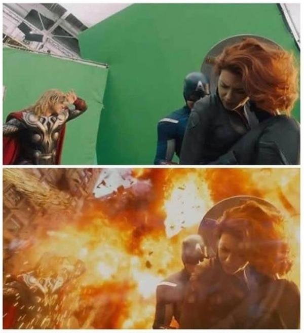 """Các siêu anh hùngtrong The Avengersđang cố """"diễn sâu"""" cảnh quay bom nổ."""