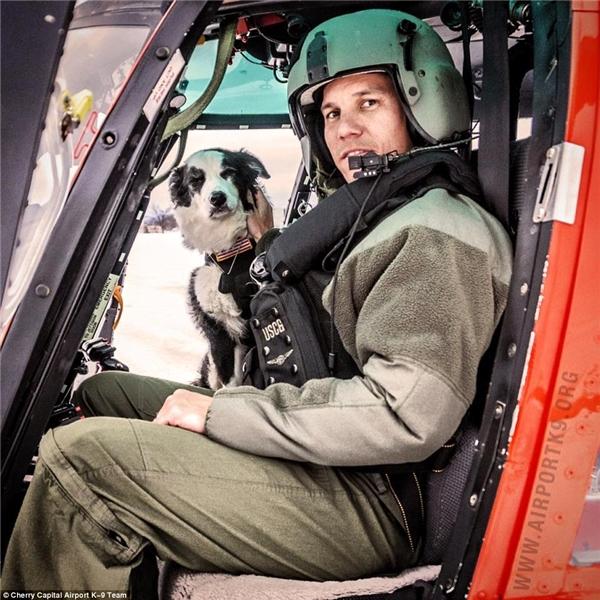 """K9 Piperđược vào hẳn trực thăng để """"post"""" ảnh cùng phi công. (Ảnh: Internet)"""