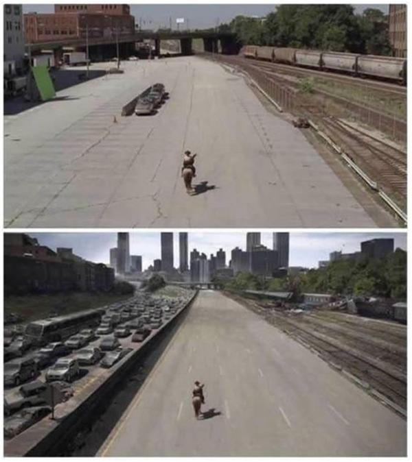 Một cảnh quay trong The Walking Dead với hình ảnh một bên làn đường dày đặc xe hơi. Trên thực tế chỉ có khoảng 3 chiếc xe có ở phim trường.