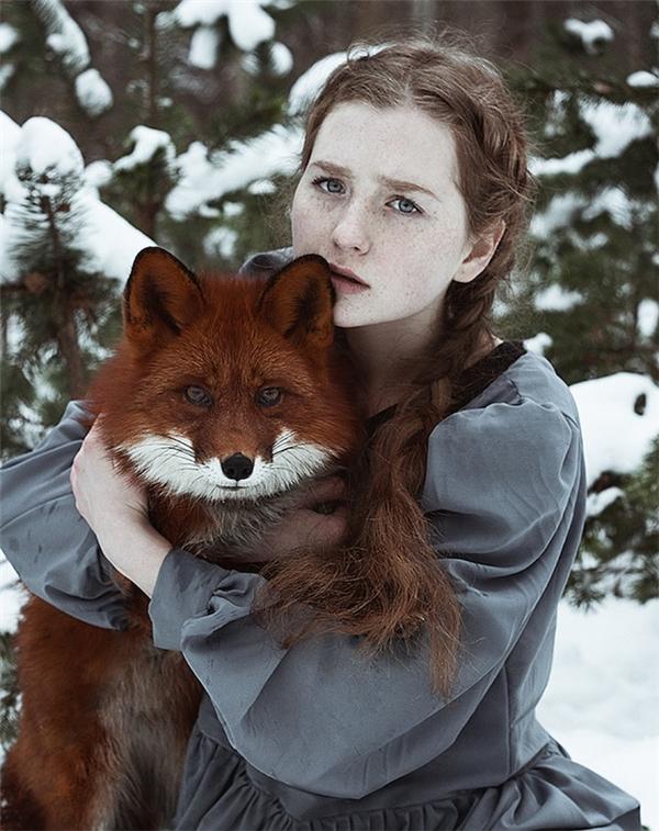 Không chỉ có đôi mắt xanh xám của cô gái mà cả đôi mắt rực lửa của chú cáo đỏ đều khiến người xem mê mẩn.